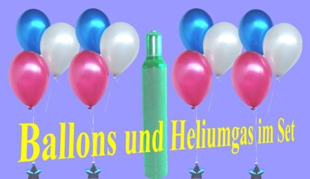 Ballons und Heliumgas im Set